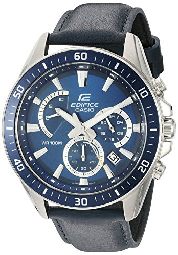 Casio Men's 'Edifice' Quartz Stainless Steel and Leather Watch, Color: Blue (Model: EFR-552L-2AVCF)