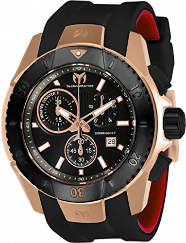 Technomarine Men's 'UF6' Quartz Gold and Silicone Casual Watch, Color:Black (Model: TM-616005)