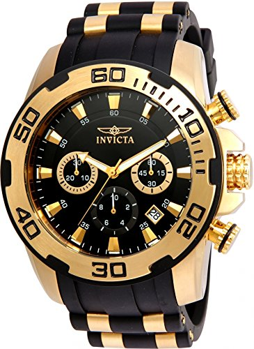 Invicta Men's 'Pro Diver' Quartz Stainless Steel and Silicone Casual Watch, Color:Black (Model: 22340)