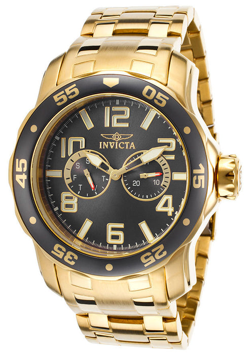 Invicta 17499 Men's Pro Diver Multi-Function 18K Gold Plated SS Charcoal Dial