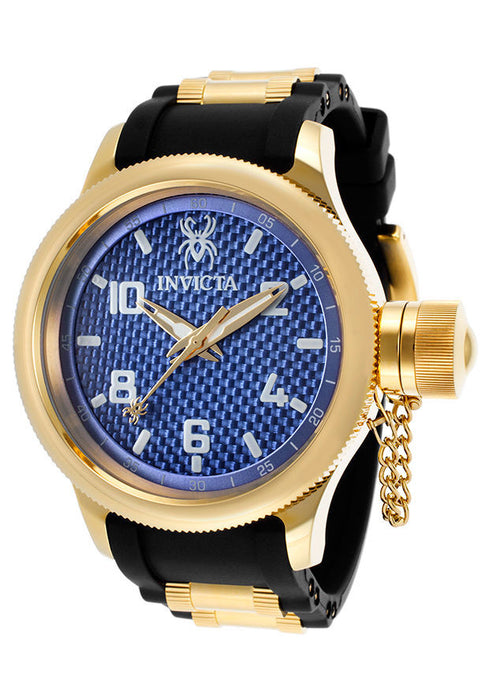 Invicta 17947 Men's Russian Diver Black Polyurethane Blue Dial 18K Gold