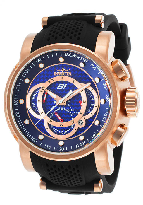 Invicta 19333 Men's S1 Rally Chrono Blue Dial Rose Gold Steel & Black Silicone Strap Watch