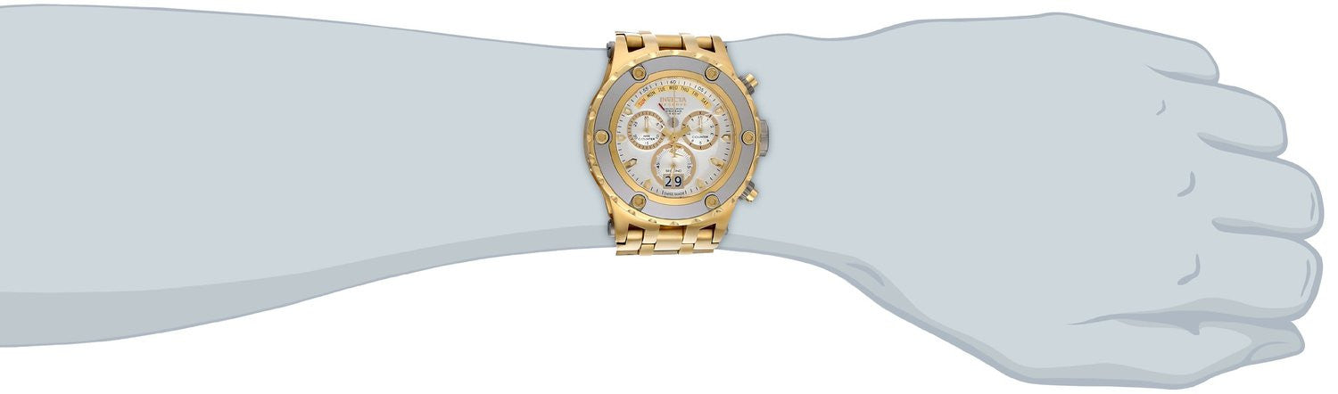 Invicta 80486 Men's Subaqua Chronograph 18k Gold Plated Steel Silver-Tone Dial
