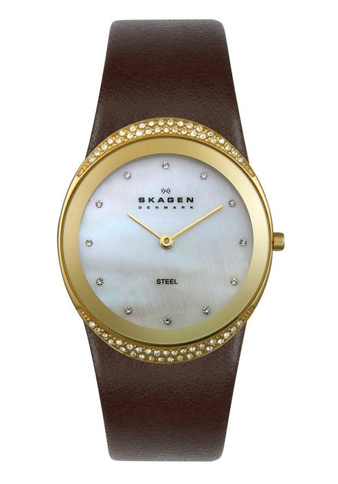 Skagen Women's 452LGLD Crystal Accented Brown Leather Watch