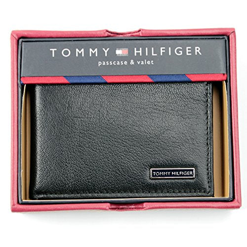 Tommy Hilfiger Passcase & Valet Wallet Men's Bifold Black Genuine Leather
