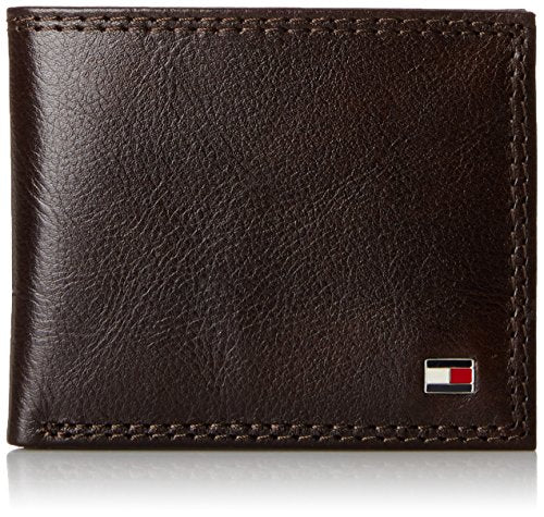 Tommy Hilfiger Men's Leather Jerome Double Billfold Walllet, Chocolate, One Size