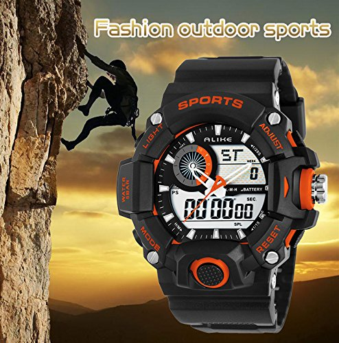 Hot Sale Alike Ak14101 Fashion Luxury Special Digital Watch Quartz Dual Times Shows Waterproof Wristwatches (ORANGE)