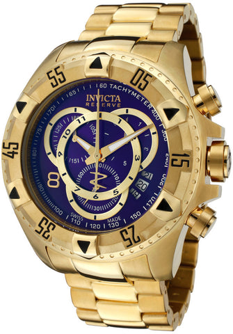 Invicta 6469  Men's Reserve/Excursion Chronograph Blue Dial 18k Gold Plated Stainless Steel