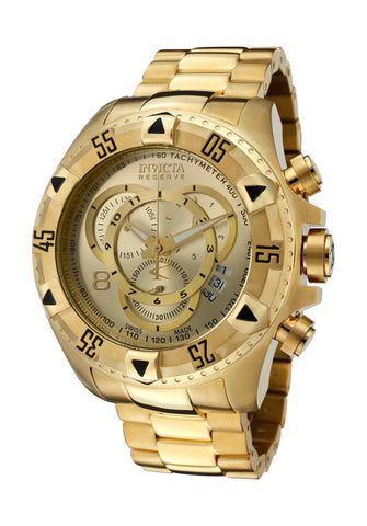 Invicta 6471 Men's Excursion/Reserve Chronograph Gold Dial 18k Gold Plated Stainless Steel