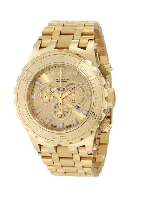 Invicta Men's 6901 Subaqua Reserve Chronograph Gold Dial 18K Gold Ion-Plated Stainless Steel Watch