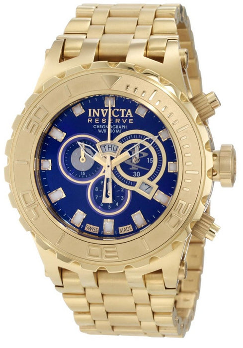 975236cfb Invicta Men's 6902 Subaqua Reserve Chronograph Blue Dial 18K Gold Ion- —  RealWatches.com