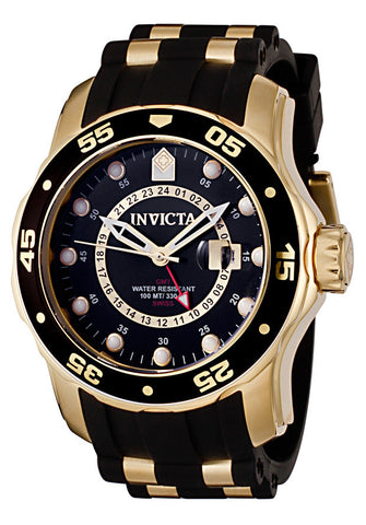 Invicta 6991 Men's Pro Diver GMT Black Polyurethane, Gold Plated