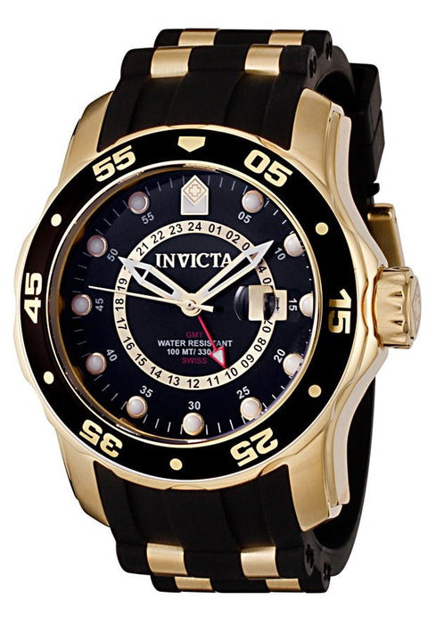 Men's Pro Diver GMT Black Polyurethane & 18K Gold Plated SS Black Dial