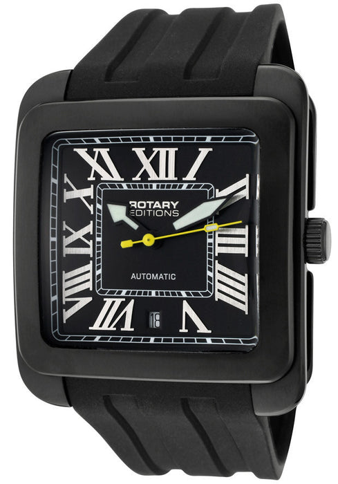 Rotary 705C Men's Editions Automatic Black Dial Black IP Case Black Rubber