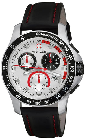 Wenger 70791 Battalion Field Chrono Watch, RED/BLK