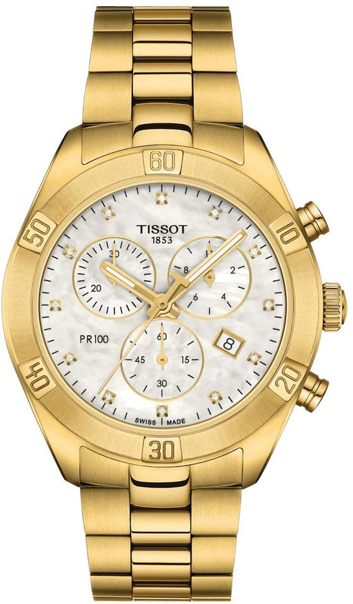 Tissot Women's PR 100 Sport Chic Swiss Quartz Stainless Steel Strap, Gold, 19 Casual Watch (Model: T1019173311601)