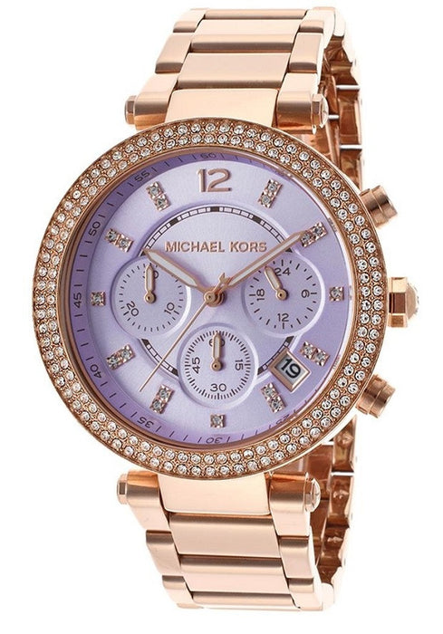 MICHAEL KORS Parker Chronograph Purple Dial Rose Gold-tone Ladies Watch