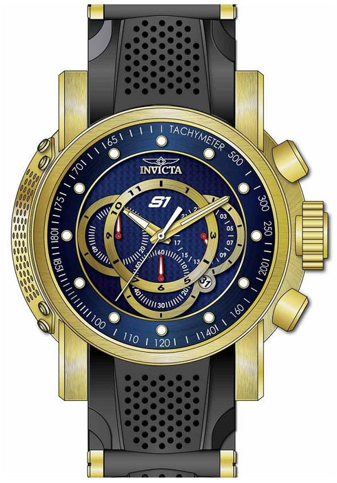 Invicta 19328 Men's S1 Rally Chrono Blue Dial Yellow Gold Steel & Black Silicone Strap Watch
