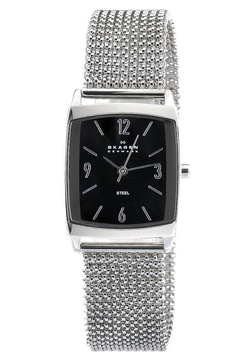 Skagen 691SSSB1 Ladies Quartz Watch, Black Dial Analogue, Silver Stainless Steel Strap