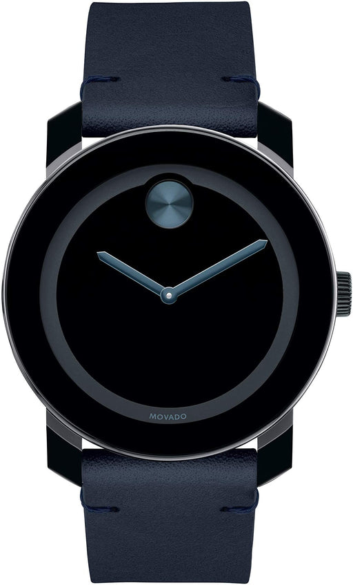 Movado Bold, Tr90 Stainless Steel Case, Blue Dial, Dark Navy Leather Strap Men's Watch
