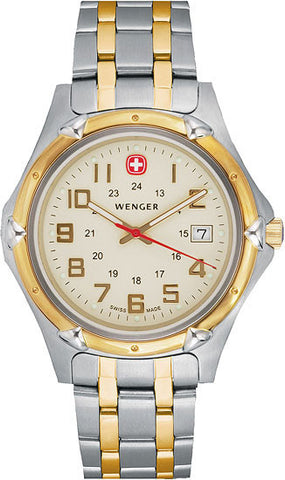 Wenger 73117 Two Tone Stainless Steel Champagne Dial Men's Watch
