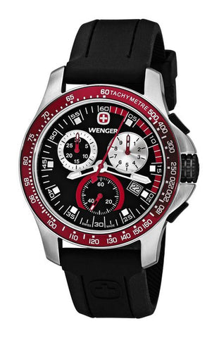 Wenger Men's 70789 Battalion Field Chrono Red and Black Rubber Strap Watch