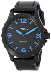 Fossil Nate Black Dial Black Leather Mens Watch JR1446