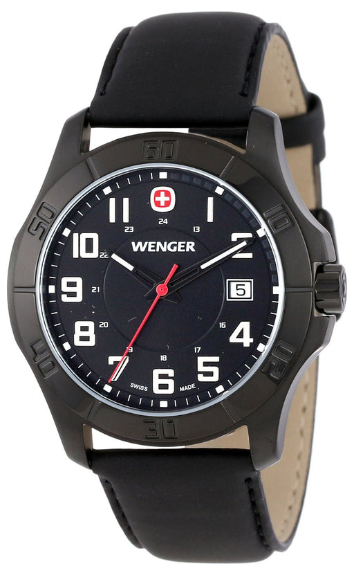 Men's Wenger 70474 Alpine PVD - coated Watch with Leather Band