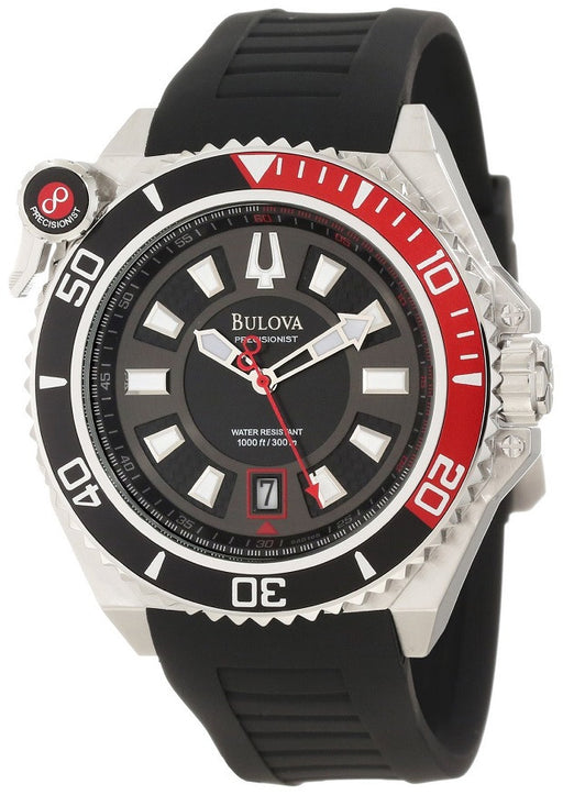 Bulova 98B166  Men's Precisionist Black Dial Black Rubber