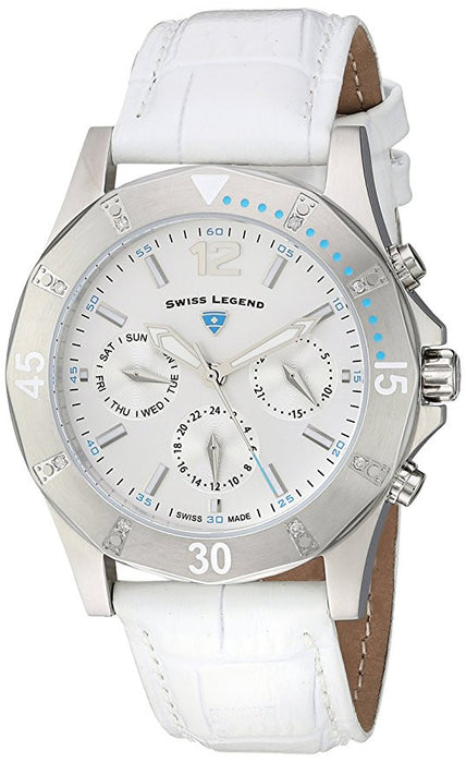Swiss Legend Women's 'Paradiso' Swiss Quartz Stainless Steel and Leather Casual Watch, Color:White (Model: 16016SM-02-WHT)