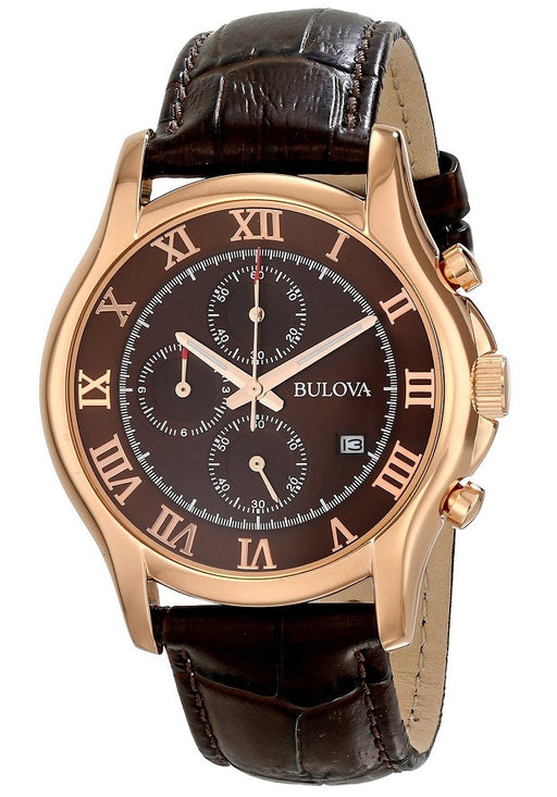 Bulova Men's 97B120 Chronograph Rose-Gold Strap Watch