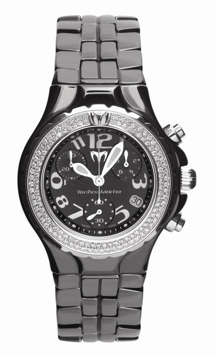 Technomarine Ladies Chronograph Watch DTCB02C with Diamond Bezel and Black Ceramic Bracelet