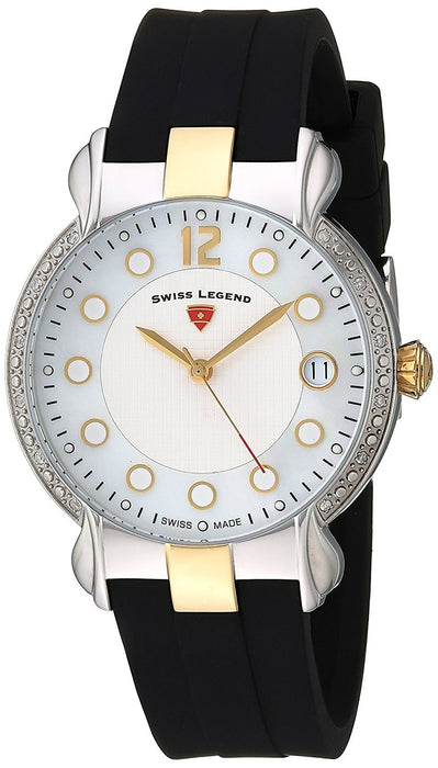 Swiss Legend Women's 'Layla' Swiss Quartz Stainless Steel and Silicone Casual Watch, Color:Black (Model: 16591SM-SG-02)