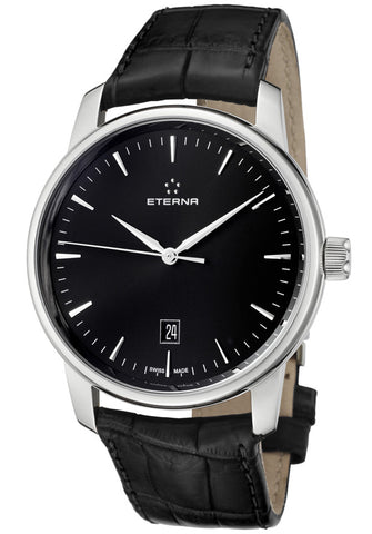 Eterna 8310-41-41-1175 Men's Soleure Automatic Black Dial Black Crocodile