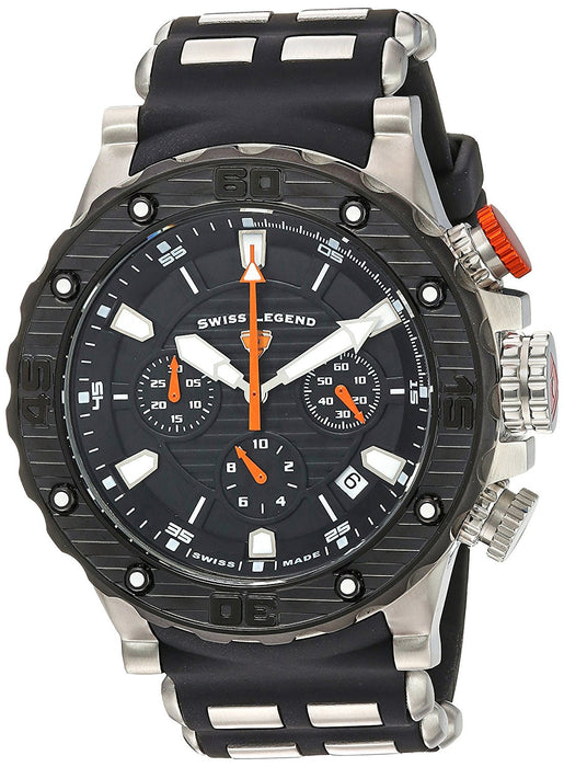 Swiss Legend Men's 'Hunter' Quartz Stainless Steel and Silicone Casual Watch, Color:Black (Model: 15253SM-01-BB-OA)