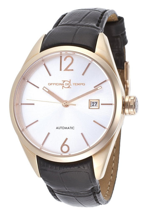 Officina Del Tempo Wall Street Ot1037-4300agn Wall Street Auto Rose Gold Leather