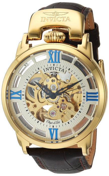 Invicta Men's 'Objet d'Art' Automatic Stainless Steel and Leather Casual Watch, Color:Brown (Model: 22614)