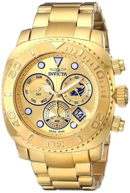 Invicta 14650 Men's Pro Diver Chronograph Gold Dial 18K Gold Plated Stainless Steel