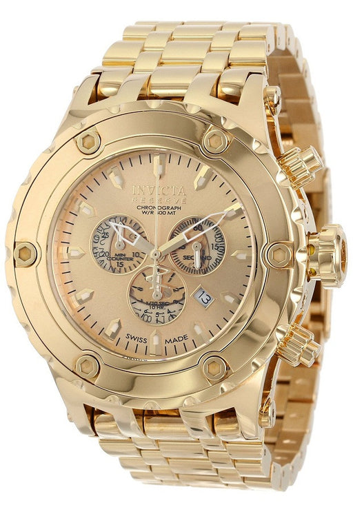 Invicta 14506  Men's Subaqua/Reserve Chronograph Gold Dial 18K Gold Plated Stainless Steel