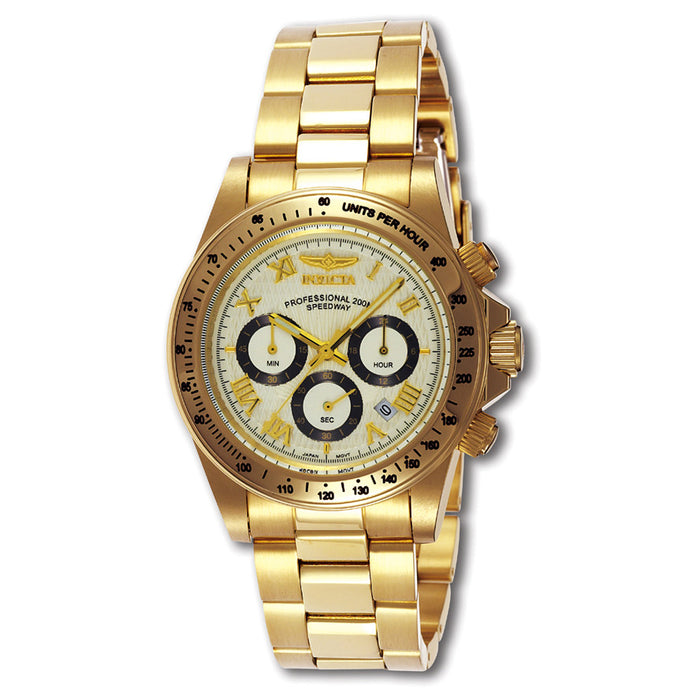 Men's  speedway super g 200 meter  & 23 kt gold plate chrono Stainless Steel