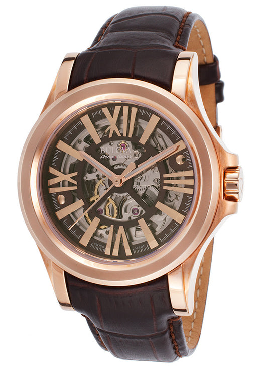 AccuSwiss 64A105 Men's Kirkwood Automatic Dark Brown Genuine Leather Skeletonized Dial
