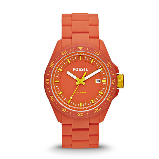 Fossil Decker Three Hand Silicone Watch - Orange Am4504