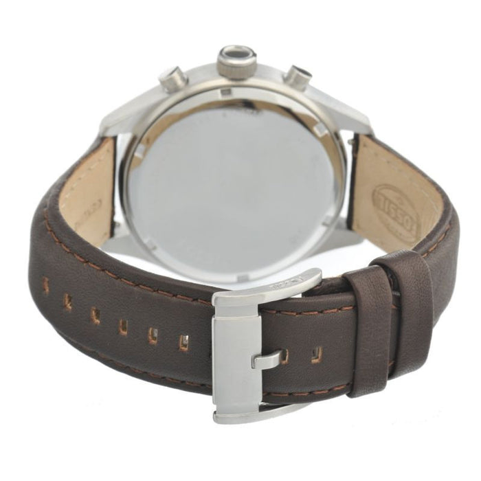 Fossil Asher Chronograph Leather Watch - Dark Brown Bq1033