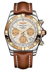 Breitling Chronomat 41 Chronograph Silver Dial Two Tone Mens Watch CB014012-G713