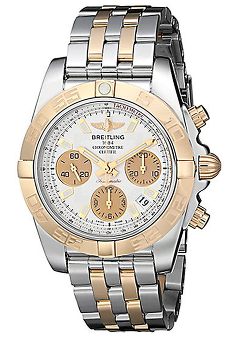 Breitling Chronomat 41 Chronograph Silver Dial Two Tone Mens Watch CB014012-G713TT