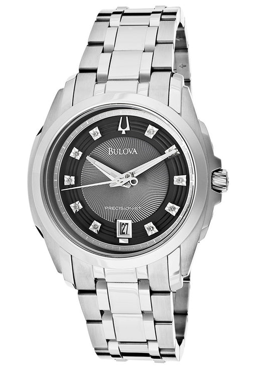 Bulova Men's 96D110 Precisionist Longwood Diamond Black Dial Bracelet Watch