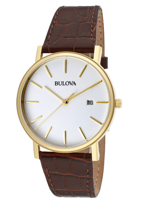 Bulova Men's 97B100 Gold-Tone Stainless Steel and Brown Leather Watch