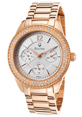 Bulova Multi-Function Silver Dial Rose Gold-plated Ladies Watch 97N101