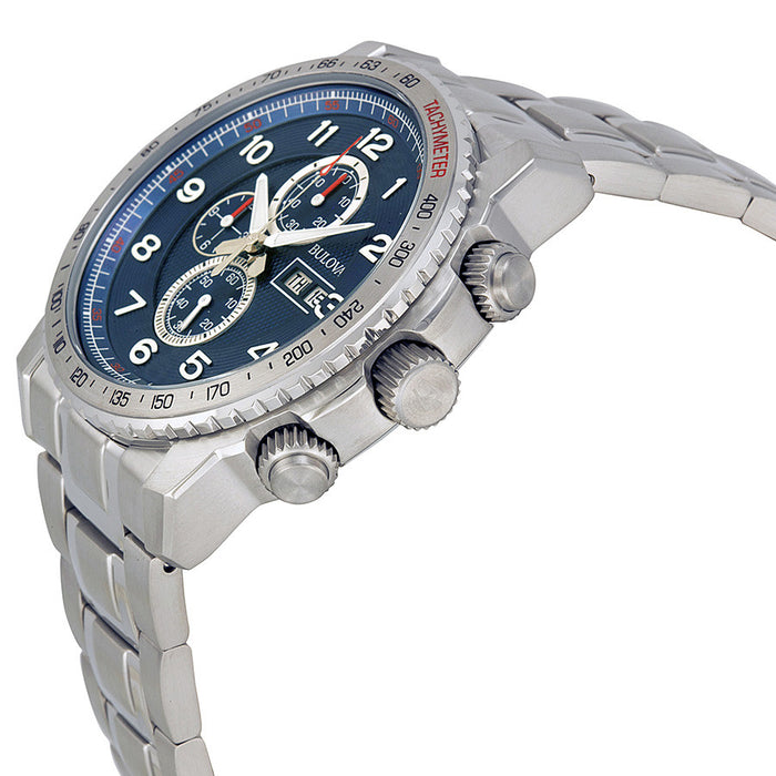 Bulova Marine Star Sport Chronograph Blue Dial Stainless Steel Mens Watch 96C121