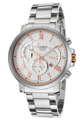 Casio BEM-506BD-7AVDF Men's Beside Chrono Silver-Tone Steel Bracelet Light Silver-Tone Dial